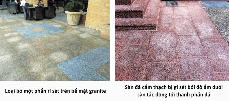 Loại bỏ một phần rỉ sét trên bề mặt granite